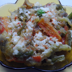 Baked veg in white sauce photo